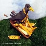 Crow Cloth Soft Sculpture Primitive..