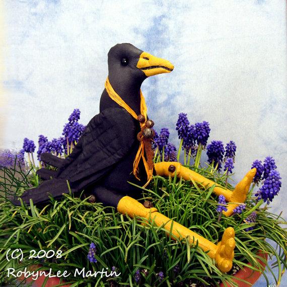 Crow Cloth Soft Sculpture Primitive Doll